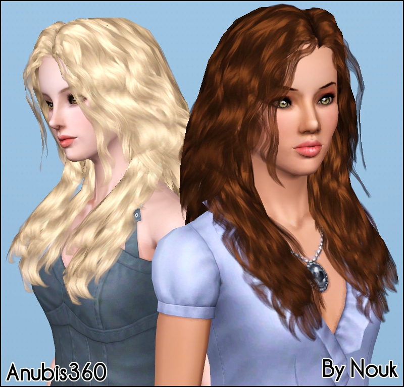 My Sims 3 Blog: Nouk Long Wavy Hair ~ Converted for Teen-to-Elder by