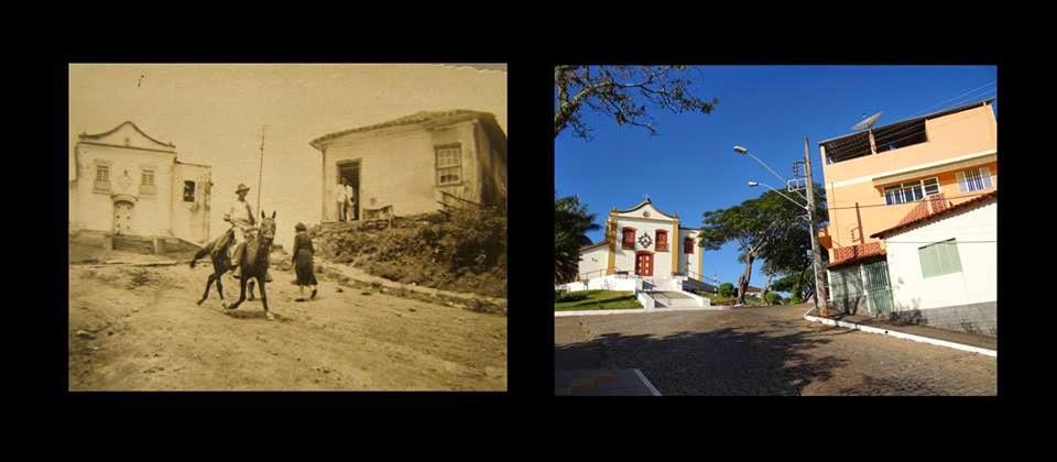 Igreja do Rosário, antes e agora. Andrelândia. Foto e montagem Geraldo Vilger Almeida