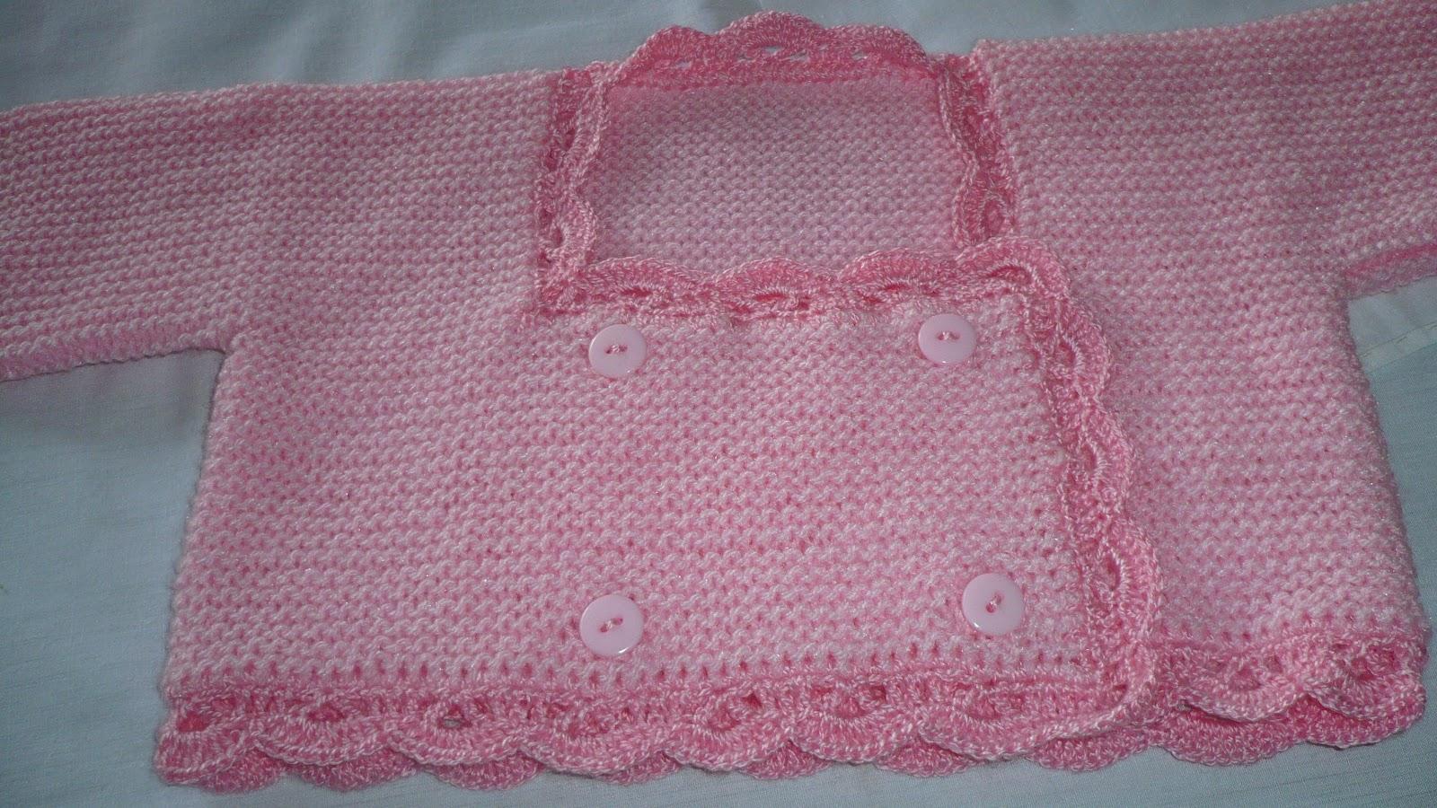 Dtejidodetalles: Chambrita rosa 3-5 meses con dos agujas