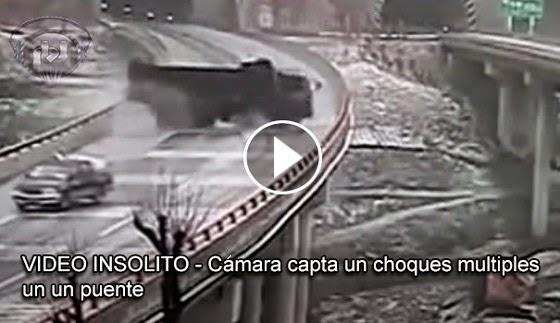 VIDEO INSÓLITO - Cámara de seguridad capta choques múltiples en un puente