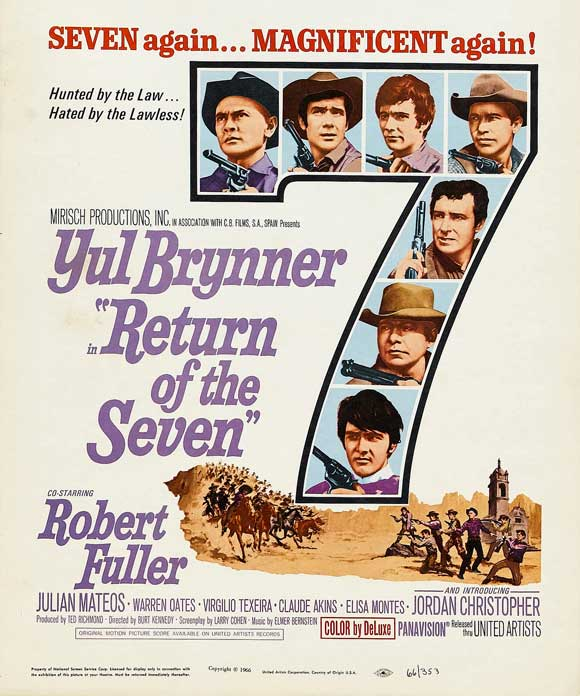 Return Of The Seven Film Poster, Starring Yule Brynner, Warren Oates, and Claude Akins