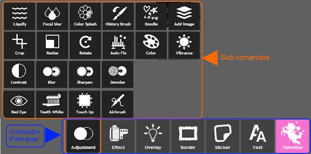 """Pixlr Express - Comandos principais e sub-comandos """"Adjustment"""""""
