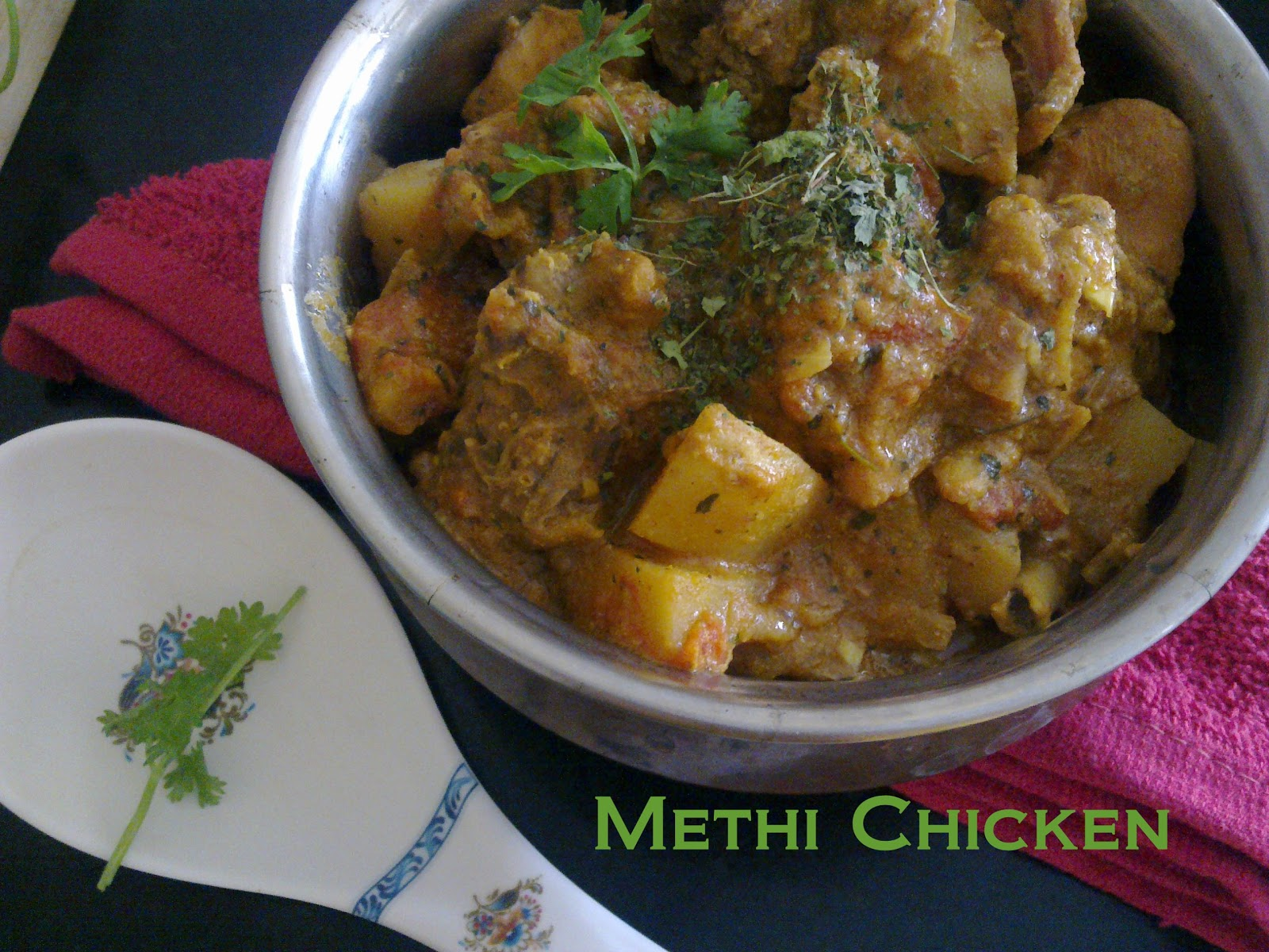 luscious methi fenugreek leaves gravy with chicken and potatoes