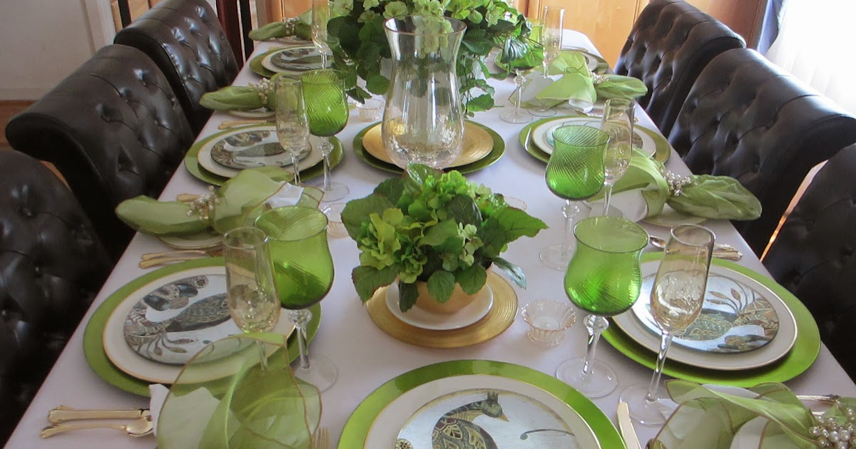 The Welcomed Guest Metallic Green Charger Tablescape