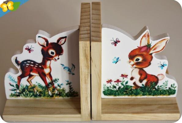 Nos serre-livres rétros Bambi et lapin par Sass & belle