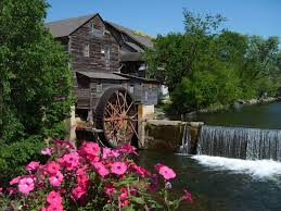 Old Mill Square water wheel