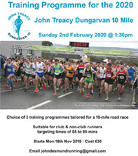 Training programmes for the 2020 Dungarvan 10 mile start Mon 18th Nov