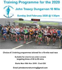 Training programmes for the 2020 Dungarvan 10 mile start Mon 18th Nov