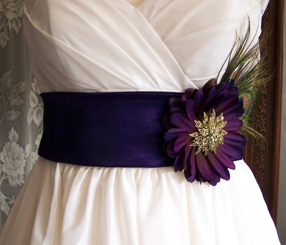 Stunning dark Amethyst Satin Crepe Bridal sash is 3 inches wide