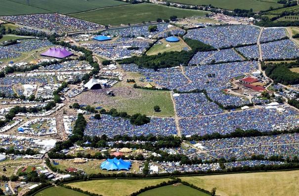 Glastonbury Festival, vista aérea