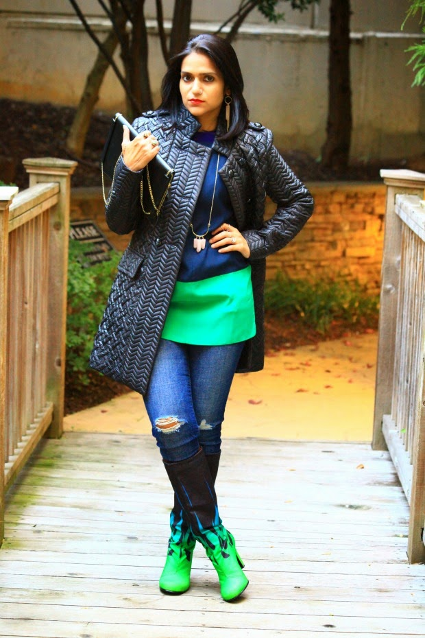 Jacket - Francesca's Blouse - Elizabeth & James Jeans - GAP Clutch - Zara Shoes - United Nude Earrings & Necklace - Lou Lou's Boutique Tanvii.com