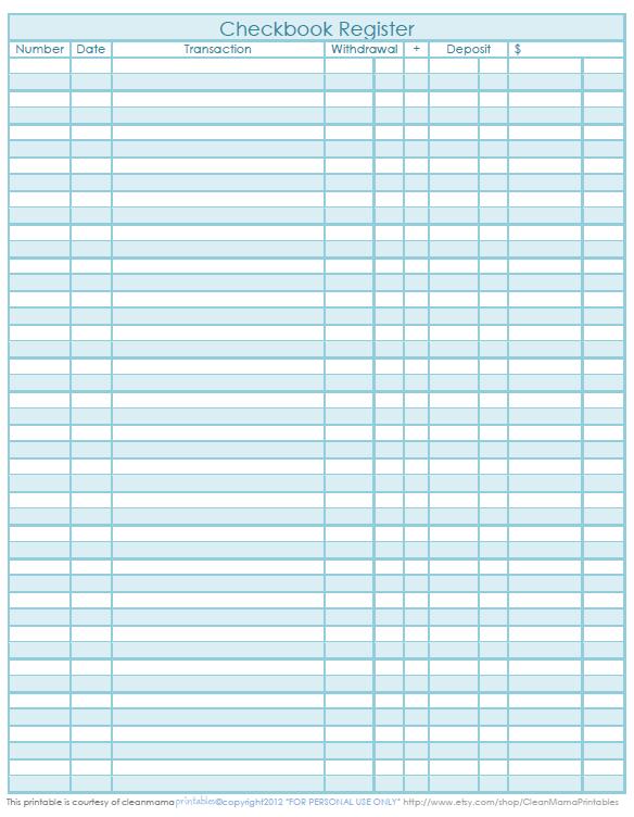 checkbook ledger print out