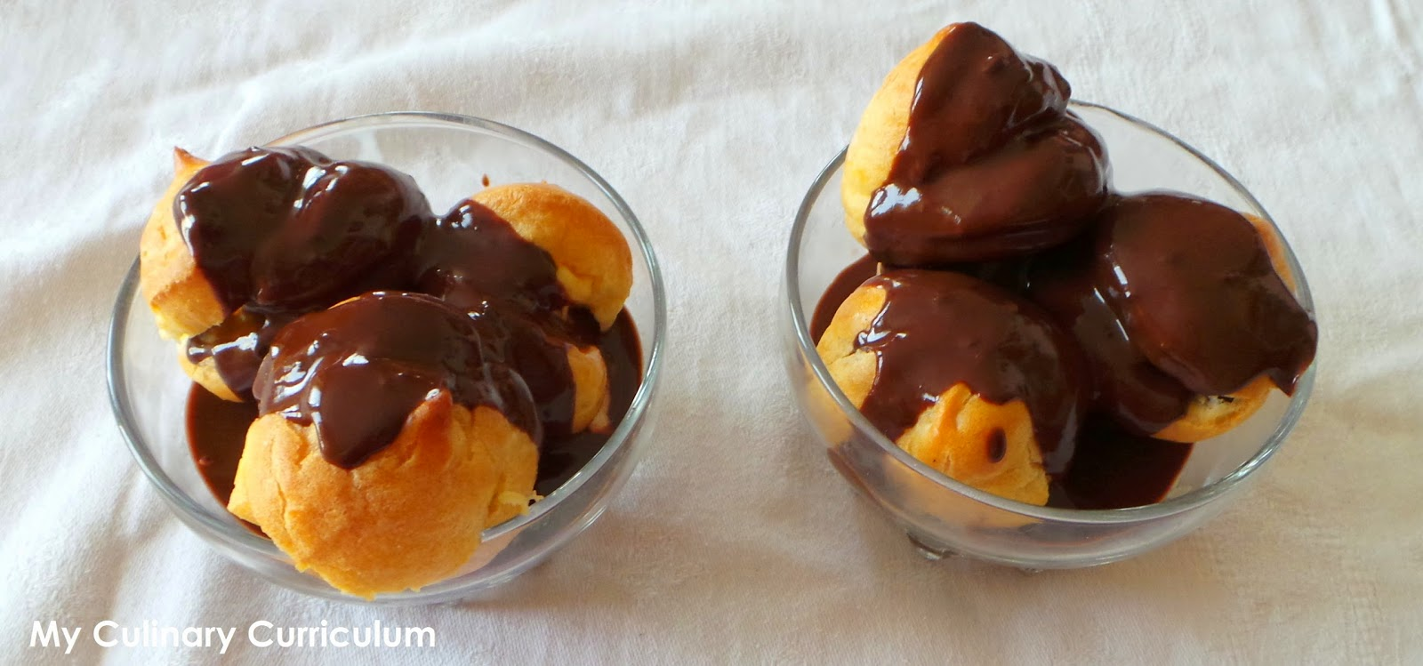 Cream Puffs With Vanilla Ice Cream And Chocolate Sauce Recipe ...