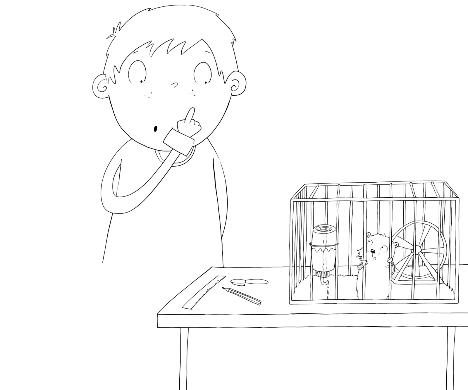 how to draw a hamster in a cage