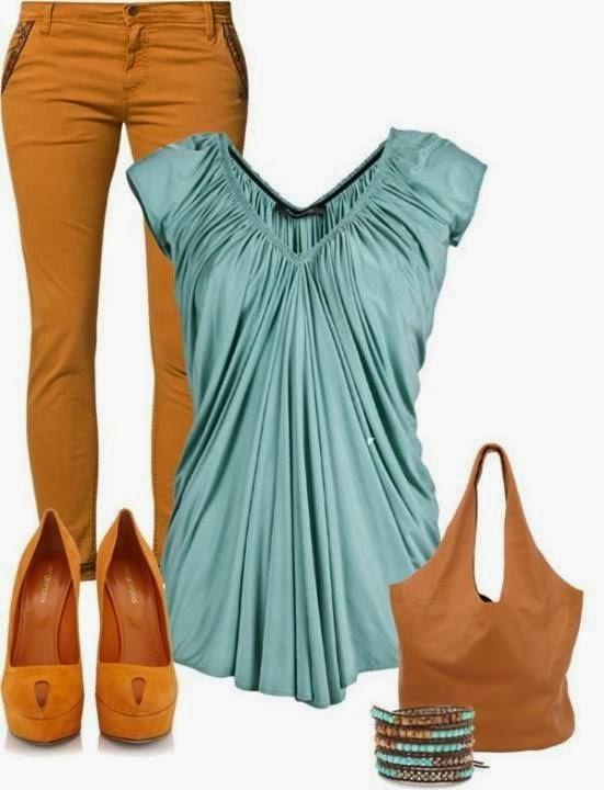 Brown pants, blue blouse, high heels and handbag