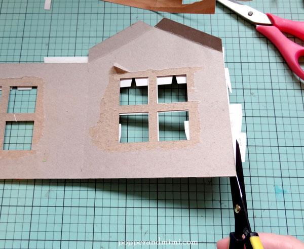 Trim excess wood veneer from house frame | popperandmimi.com