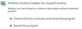 Gadget error-rusak Windows 7 & Vista1