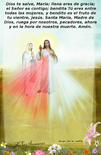 imagen de jesus y maria con la oracion del avemaria