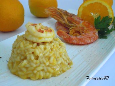 risotto gamberoni e arance
