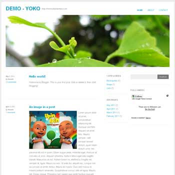 Yoko blogger template convert from wordpress theme to blogger. minimalist blogger template. 3 column template for blog
