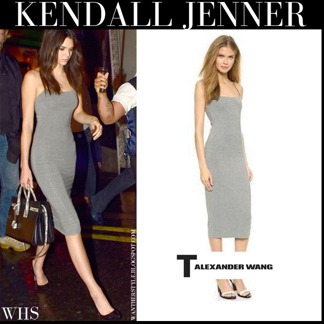 Kendall Jenner in grey figure hugging tank midi dress T by Alexander Wang what she wore july 3