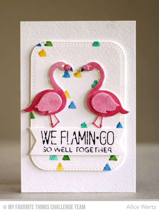 Flamingo Well Together Card by Alice Wertz featuring the Laina Lamb Designs Tickled Pink stamp set and Flamingos Die-namics #mftstamps