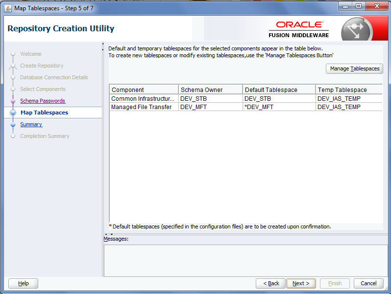Create Oracle MFT Schemas