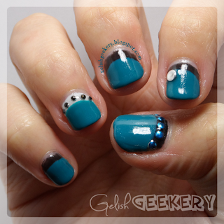 Gelish Reverse Half Moon Manicure Garden Teal Party