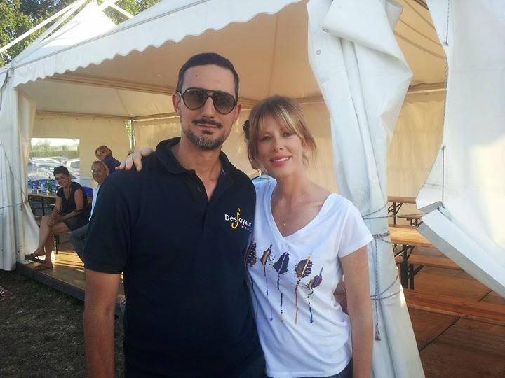 Luciano Uzzo, Amministratore Delegato Piscine Desjoyaux, con Alessia Marcuzzi.