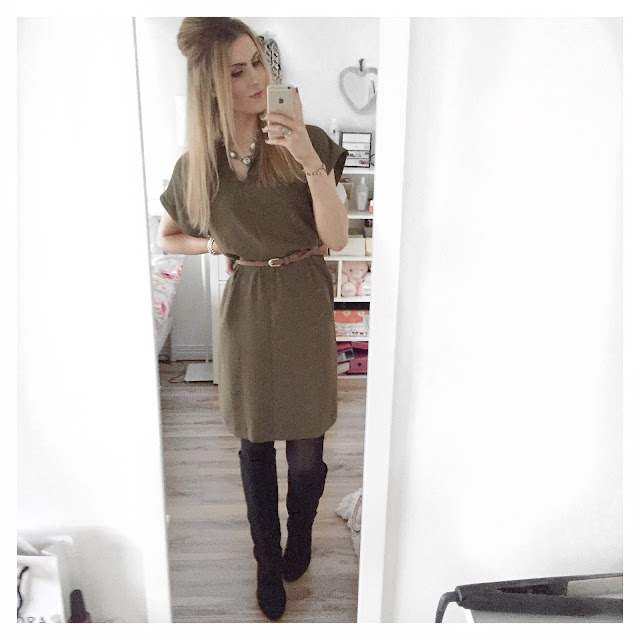 topshop khaki green midi dress