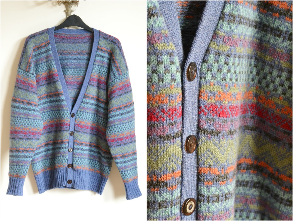 shetland coloured fair isle vintage cardigan charity shop