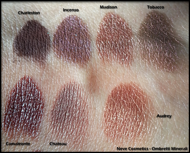 Neve Cosmetics - Ombretti Minerali - Swatch di Charleston, Incenso, Madison, Tobacco, Camaleonte, Chateau e Audrey