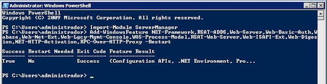 Instalación de Windows Features terminada