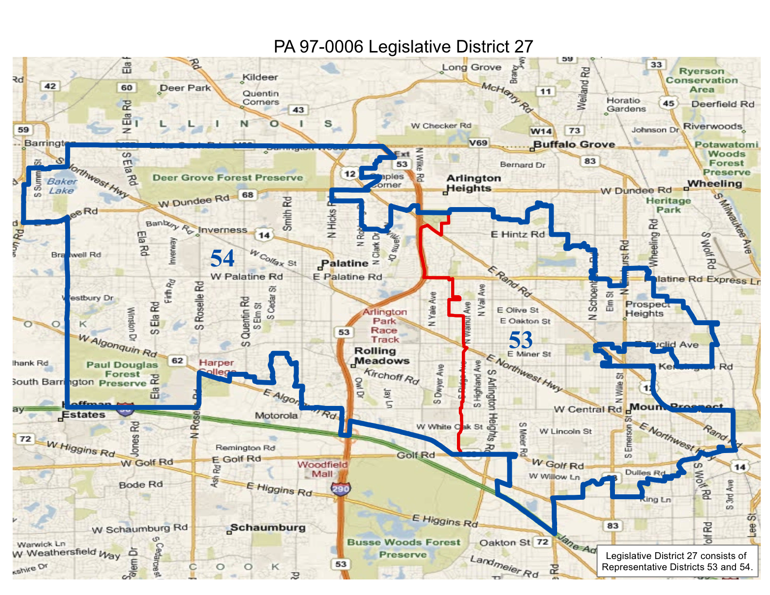 map of realigned illinois state legislative district 27 and state representative districts 53 and 54