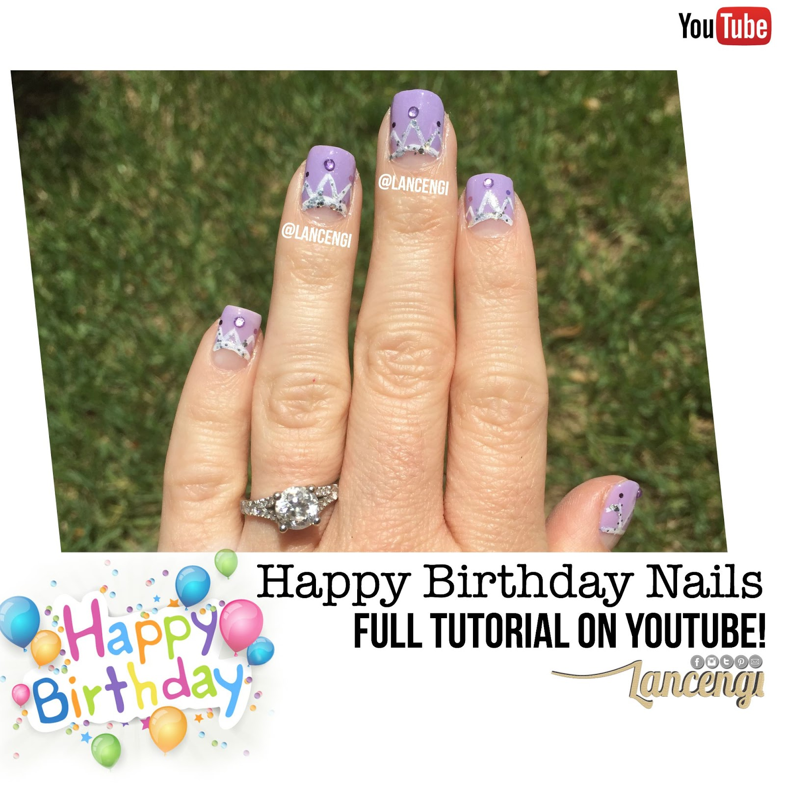 Lancengi Easy Cute Happy Birthday Nails Queen Bee Crown Nail Design