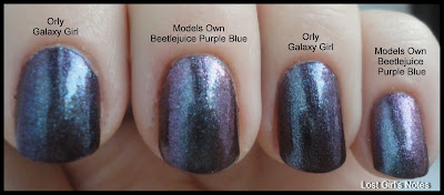 Models owns Purple Blue and Orly Galaxy Girl Comparison