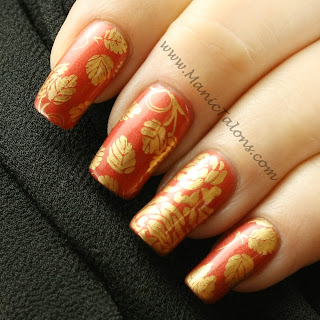 Elegant Fall Leaves and Roses Manicure