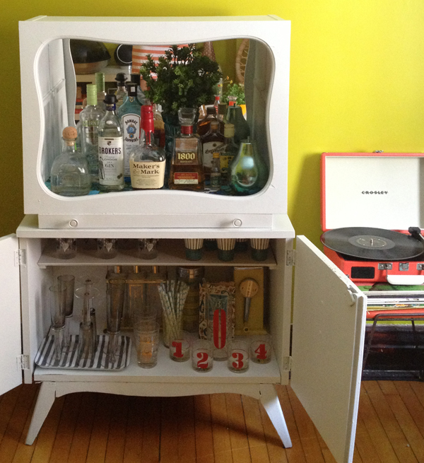 Oh So Lovely Vintage My Vintage Bar Cabinet Makeover