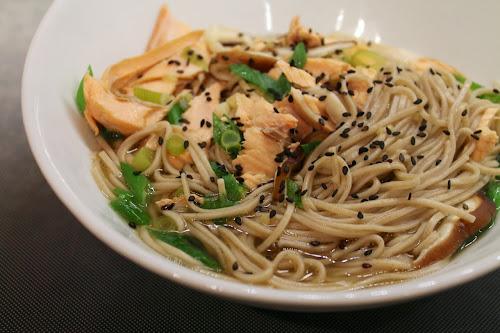 Salmon Soba Noodle Soup