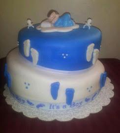 Topsy Turvy Baby Shower Cake