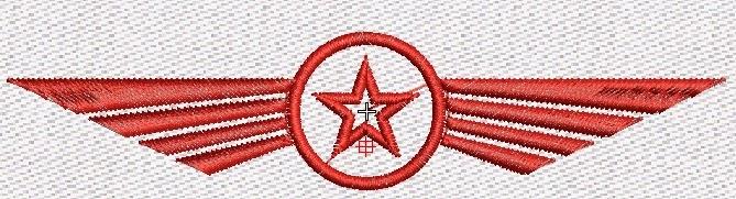 Estrella roja en bordado