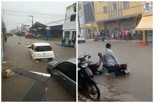 Cena que se repete! Chuvas inundam ruas de Bacabal