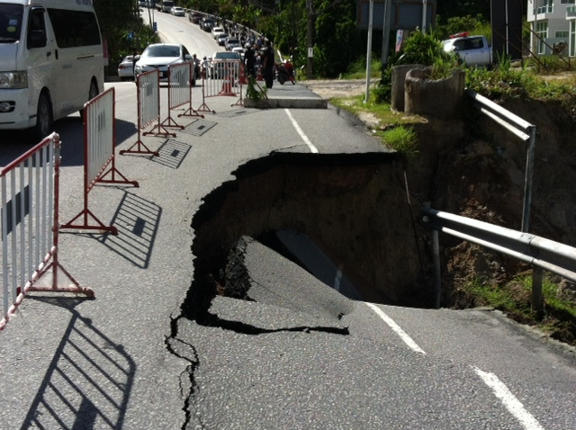 Hole in the road on Patong Hill, 22nd August 2012