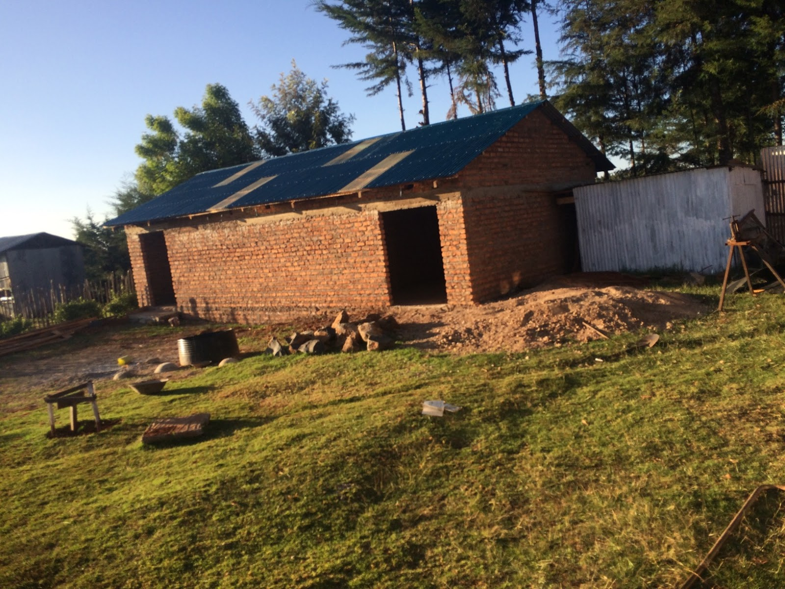 A 2 room building was built at grace family to house the container items and have a more permanent building to keep tools secure