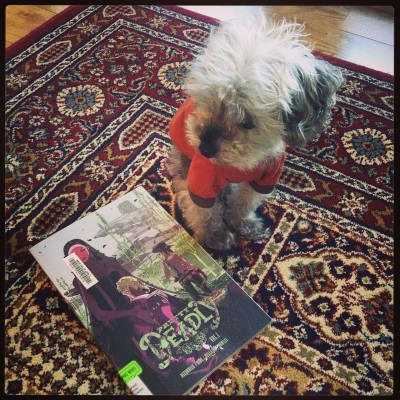 Murchie sits on a red patterned carpet. He wears an orange t-shirt with brown trim. Beside him is a trade paperback copy of Pretty Deadly. Its cover features a pale woman in a long black dress cradling a person with an animal skull for a head. Behind them, a gunslinger of indeterminate gender stares at a butte in the distance.