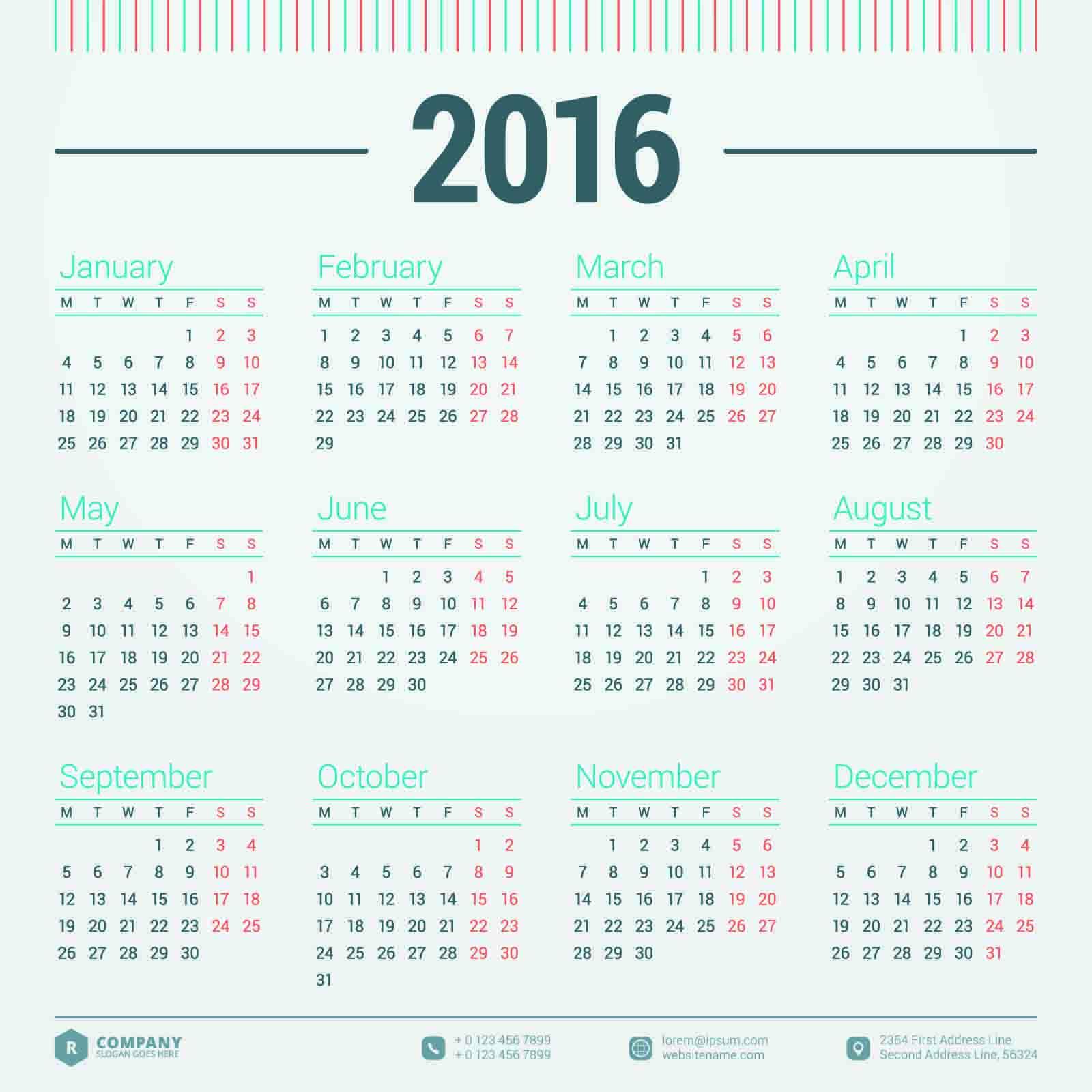 2016 Calendar : カレンダー ダウンロード 2015 : カレンダー