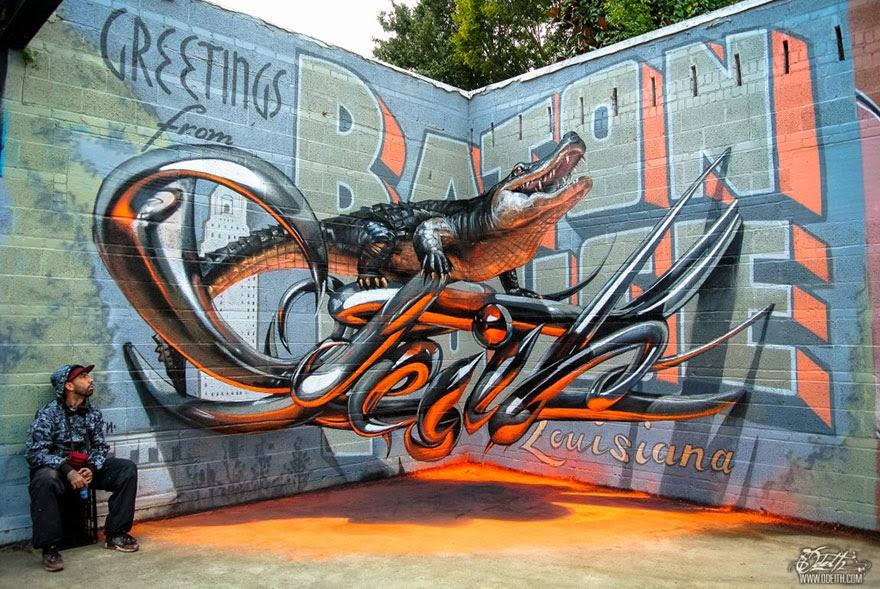 Artista callejero crea increíbles Graffitis en 3D