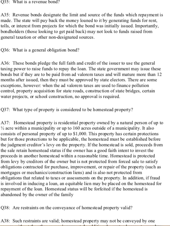 Sample Page from Florida Bar Exam Essentials (Florida Con Law Chapter)