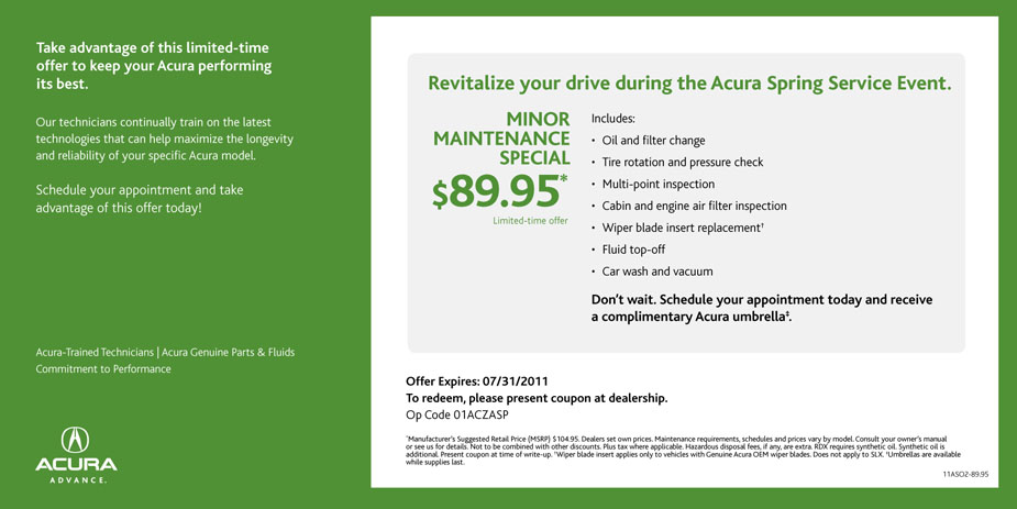 DCH Acura Of Temecula News And Views Acura Spring Service Coupon - Acura coupons oil change