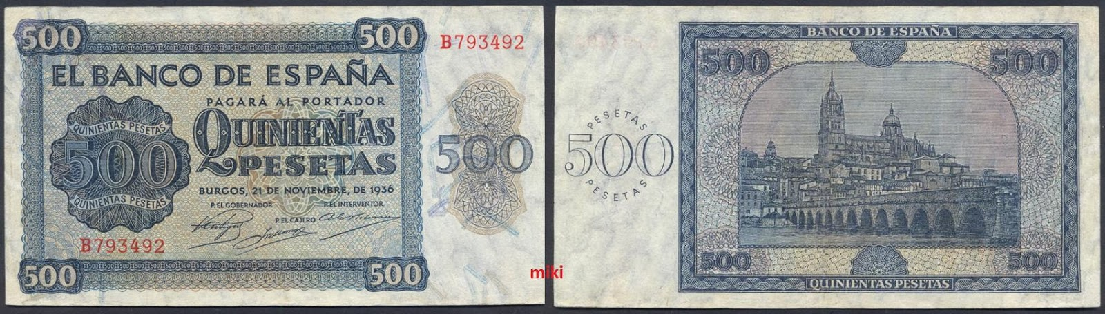 500 Pesetas 1936 500+36